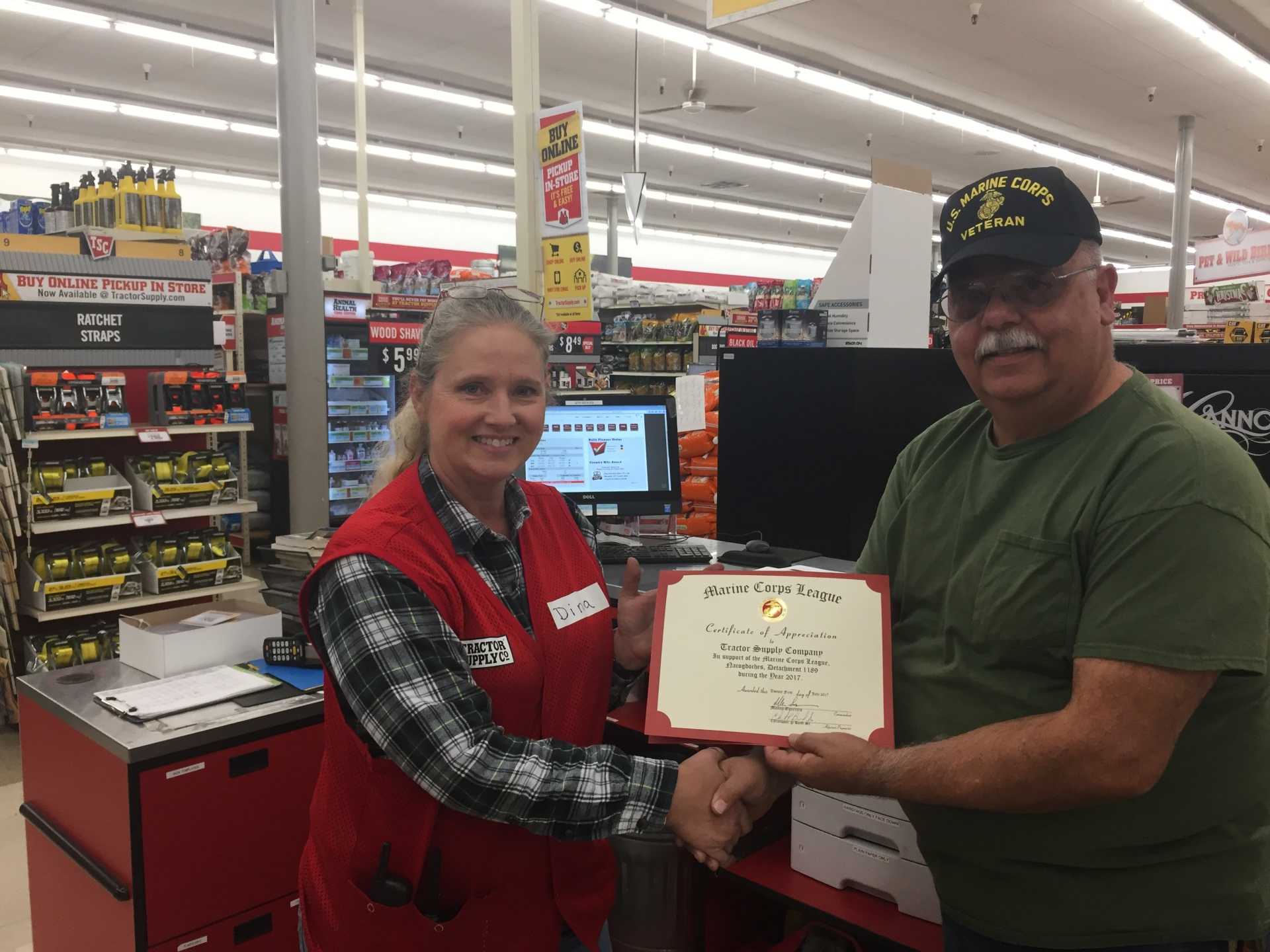 Certificate of Appreciation to Tractor Supply Co.